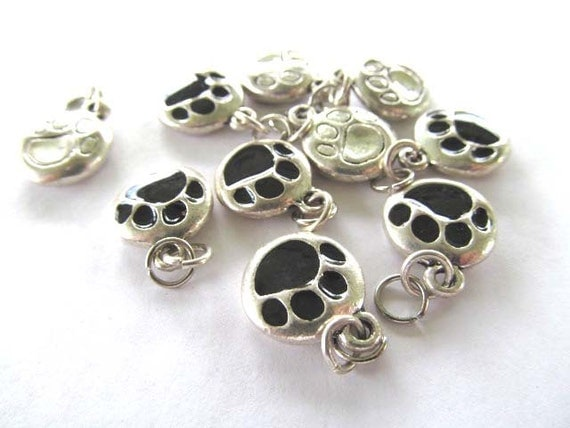 Black and Silver Puppy Paw Charms with Jump Rings 10 Pieces, 12 mm