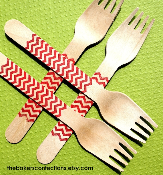 Red Chevron Wooden Party Forks - Eco-friendly Birthday, Wedding or Shower Forks (set of 36)