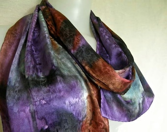 Bold and Brilliant Wearable Art Scarf in hand painted silk jacquard