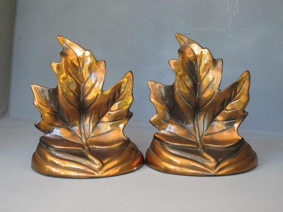 Vintage Maple Leaf Bookends / Decorative Cast Metal Copper