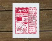 Flapjacks | Kitchen Art Print | Silkscreen Print | Red | Made in the USA