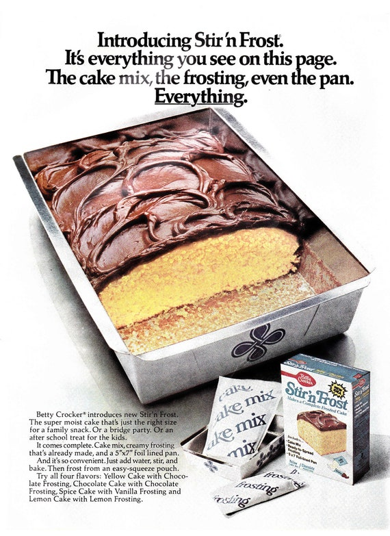 Vintage  1976 Betty Crocker Stir 'n Frost advertisement with Eve cigarette ad on the reverse