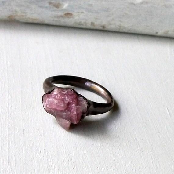 Rubelite Tourmaline Copper Ring Violet Pink Raw Gem Stone Crystal Artisan Handmade