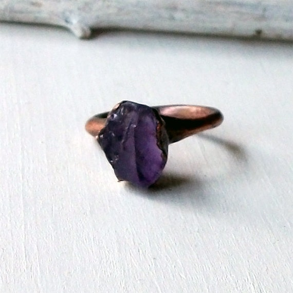 Copper Ring Amethyst Purple Violet Plum Raw Gem Stone February Birthstone Artisan Handmade