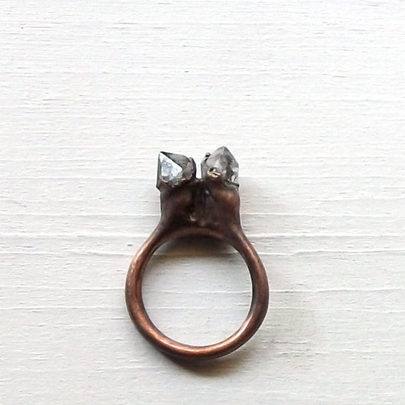 Quartz Ring Crystal Ring Gemstone Ring Mineral Rough Stone Ice Natural Artisan Handmade Copper Gemstone Jewlery for Her
