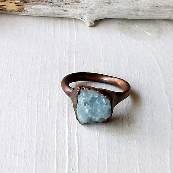 Copper Aquamarine Ring March Birthstone Pale Sky Blue Rough Raw Gemstone Artisan Handmade