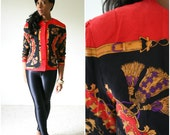 vintage 80s RED silk gold TASSEL jacket size S M
