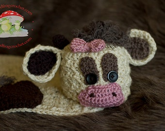 CROCHET PATTERN Cow Cuddly with Hat