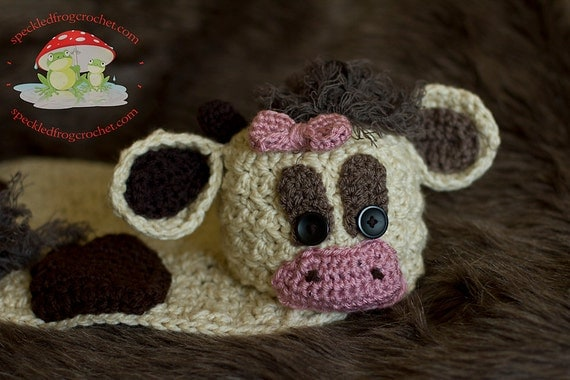 Crochet Pattern Cow Hat : Handmade Spark - - CROCHET PATTERN Cow Cuddly with Hat