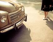 "Back to '50 - vintage Italian car romantic romance photography old woman feet La Dolce Vita 8""x12""  -  italy prints italian"