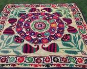 Big  Surkhandarya  Suzani from  Uzbekistan. Bed cover/ wall hanging. Hand embroidered.