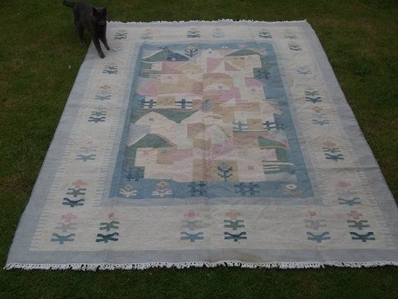 RESERVED for KATE: 7  x 6  ft Pastel colours. Wool Rug/Kilim/Carpet. Hand woven. Afghanistan.
