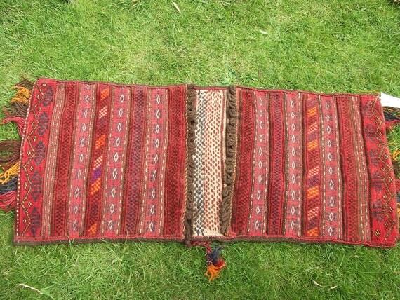 Tribal Kilim Khurjeen Saddle Bag. Hand Woven Wool. Cushions/bag.