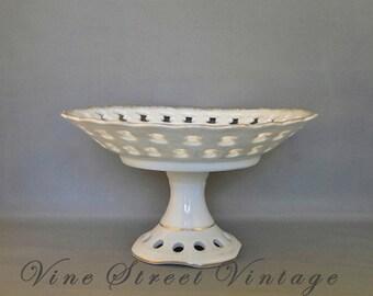 Vintage Lefton China Gilded Pedestal Candy Dish