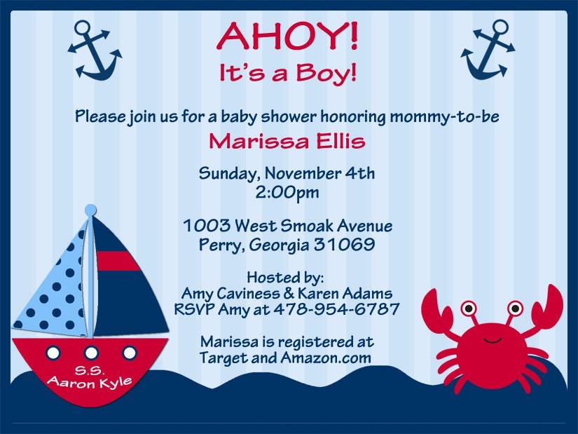 ahoy its a boy nautical theme baby shower invitations for