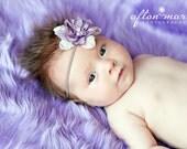 Light Purple Baby Girl Silk Flower Skinny Elastic Headband, Toddler Infant Newborn Girls Prop, Newborns Photo Props Vintage