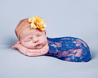 Baby Girl Wrap, Newborn Lace Wrap, Royal Blue Baby Wrap, Newborn Photo Prop, Baby Girl Props, Layering Fabric Props, Baby Stretch Wrap