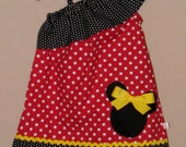 Disney Minnie Mouse Inspired Girls Dress -Ruffled One Shoulder Dress -Brother Shirt Available -Great for Disney Trips Birthdays -Size 6, 7/8