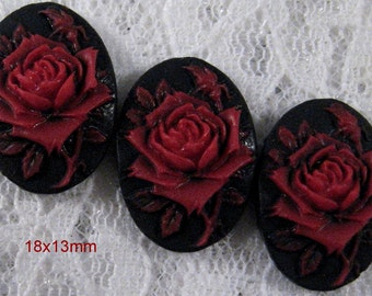 18x13mm - Red/Black - Rose Solitaire Cameo - 3 pcs : sku 06.08.12.15 - Q9