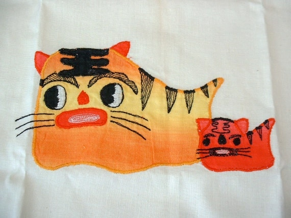 Vintage Ferocious Kitty Cat Linen By Chinese Women