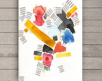 Original Abstract II Watercolor Painting with Silver Metallic Ink and Yellow, Red, Blue, Green Colors, 9''x12'' on Watercolor Paper