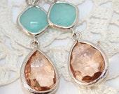 Peach Mint Earrings,Pink Champagne Bridal Earrings,Teardrop Earrings,Mint Peach Bridesmaid Earrings Glass Drop Mint Peach Wedding Jewelry