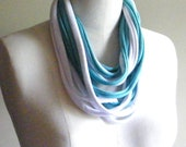 Blue and White T Shirt Scarf, Jersey Scarf, Colorful Scarf, Womens Scarf, Mens Scarf, Infinity Scarf