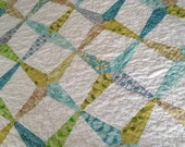 Reduced price Dresden Wedge Quilt in blue, green, tan, and white for baby boy