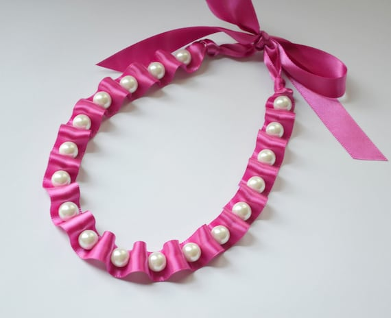 See Description for a coupon code Ribbon Necklace-Jet Ribbon and Pearl Necklace in Fig  Jewelry