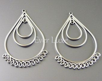 1640-MR (2 pcs) Matte rhodium plated handmade triple tear drop with multi-loop pendants