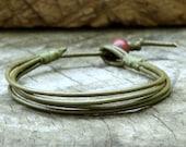 Simple Olive Green Leather Unisex Bracelet