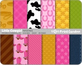 Little Cowgirl Paper Pack (12 Sheets) - Personal and Commercial Use - polka dot stars denim plaid tartan stripe