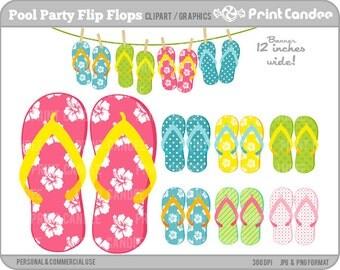 Pool Party Flip Flops - Digital Clip Art - Personal and Commercial Use - flip flop summer pool fun hawaiian flower beach