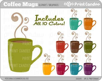 Coffee Cups - Digital Clip Art - Personal and Commercial Use Clip Art - coffee hot chocolate java expresso
