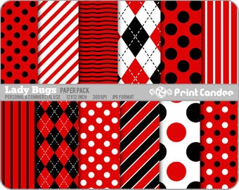 Lady Bugs Paper Pack (12 Sheets) - Personal and Commercial Use - red black white argyle stripes dots