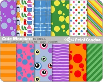 Cute Monsters Paper Pack (12 Sheets) - Personal and Commercial Use - orange purple green purple eyes blue dots