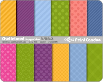 Owlicious (Happy Colors) Paper Pack (12 Sheets) - Personal and Commercial Use - polka dot hearts tartan stripe plaid