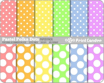 Pastel Polka Dots Paper Pack (12 Sheets) - Personal and Commercial Use - rainbow white circles colorful