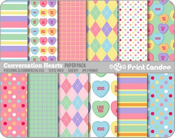 Valentines Conversation Hearts Paper Pack (12 Sheets) -  Personal and Commercial Use -  valentines day candy hearts