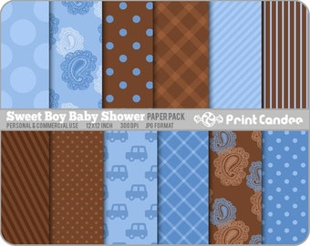 Sweet Boy Baby Shower Paper Pack (12 Sheets) - Personal and Commercial Use  -  polka dot stars denim plaid tartan stripe