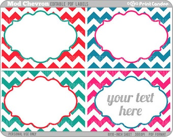 Rectangle - Editable PDF (8x10) - Mod Chevron Labels - Printable Labels / Cards