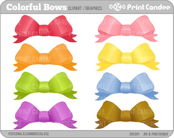 Colorful Bows - Personal and Commercial Use Digital Clip Art - birthday party, graphics, scrapbooking, card making