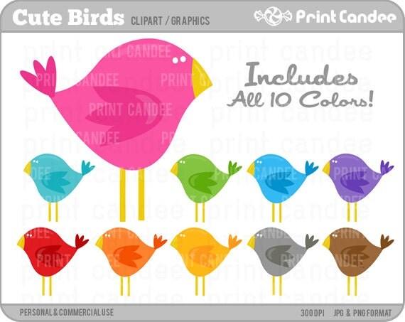 Cute Birds - Digital Clip Art - Personal and Commercial Use - bird tweet retro mod cute child kid
