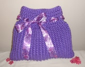 Crochet Tote Bag - handbag tote crochet bag purse purple pink market bag evening bag - Grape Soda Chunky Terrifically Textured Tote