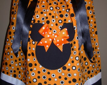 Halloween Orange with Black and White Dots Minnie Mouse Pillowcase (extra for personalization)