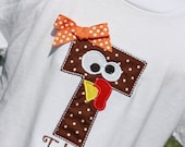 Boutique custom Turkey Alphabet letter appliqued tee shirt.. Fun for Thanksgiving .. personalized for Boys or Girls