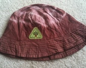 Brown tie dye child's bucket hat with hippie tree patch