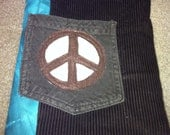 Handmade brown and teal tie dye peace sign novelty pouch with Velcro