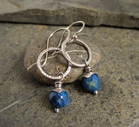 RESERVED FOR PATRICIA - Sterling Silver Earrings silver hoop earrings hammered silver azurite bead