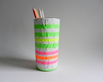 Neon stripes  Pencil Holder / Neon Office / modern office